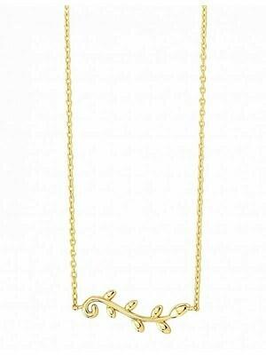 Yellow Gold Olive Leaf Necklace 14KT