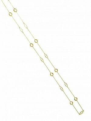 White & Yellow Gold Two Tone Fancy Link Necklace 10KT