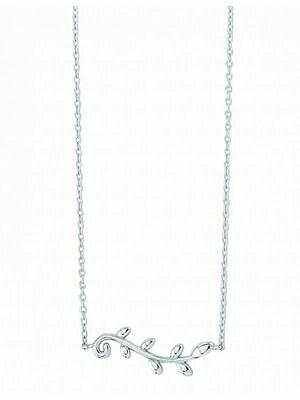 White Gold Olive Leaf Necklace 14KT