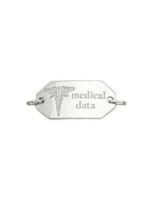 White Gold Medical Data Plate 10KT & 14KT