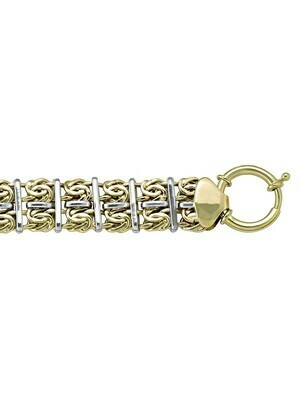 White & Yellow Gold Two Tone Hollow Fancy Necklace 10KT