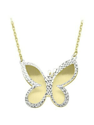 White & Yellow Gold Two Tone Butterfly Necklace 10KT