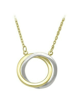 White & Yellow Gold Two Tone Love Knot Necklace 10KT