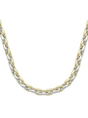 White & Yellow Gold Two Tone Hollow Round Fancy Link Necklace 14KT