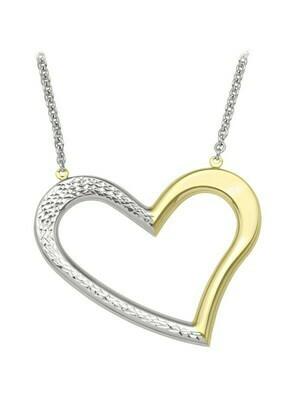 White & Yellow Gold Two Tone Large Open Heart Necklace 10KT