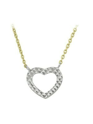 White & Yellow Gold Two Tone Open Heart Necklace 10KT