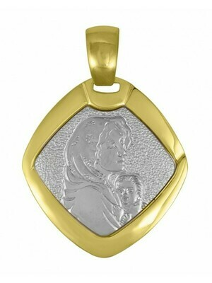 White & Yellow Gold Two Tone Solid Madonna Medal 18KT