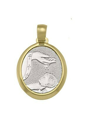 White & Yellow Gold Two Tone Solid Baptism Medal 18KT