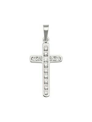White C.Z. Cross 18KT