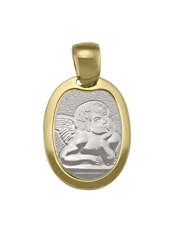 White & Yellow Gold Two Tone Solid Angel Medal 18KT