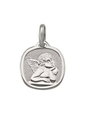 White Gold Solid Angel Medal 10KT, 14KT & 18KT