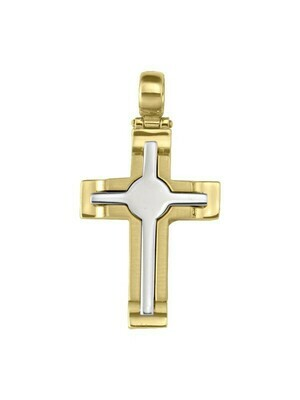Yellow And White Gold Two Tone Cross 14KT & 18KT