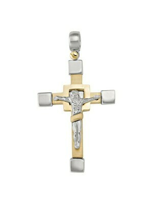 Yellow And White Gold Two Tone Crucifix 14KT & 18KT