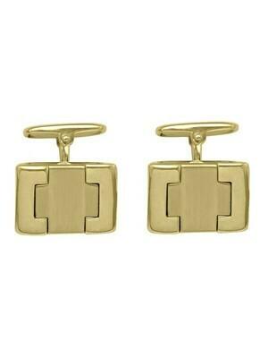 Yellow Gold Fancy Rectangular Cufflinks 18KT