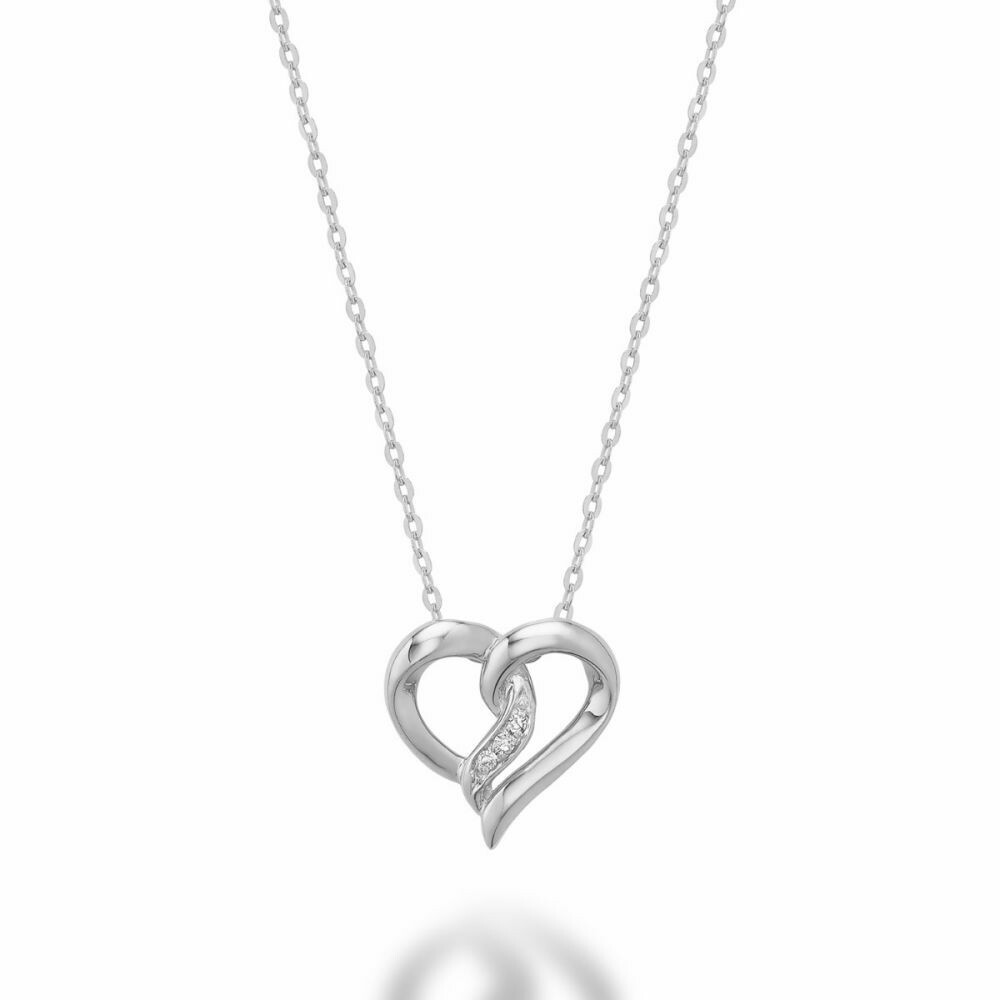 Diamond Intertwined Hearts 10KT White Gold
