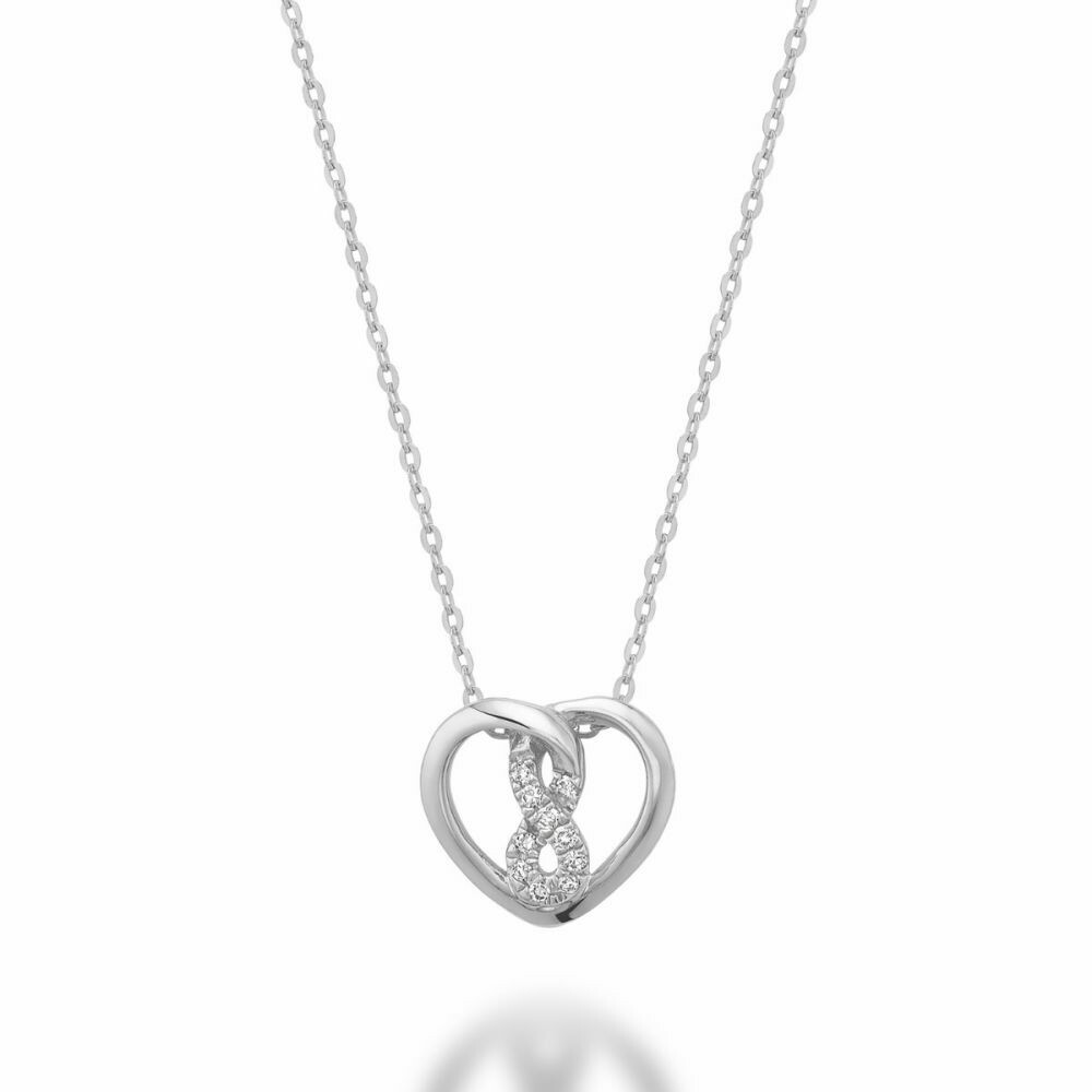 Diamond Intertwined Infinity Center Hearts 10KT White Gold