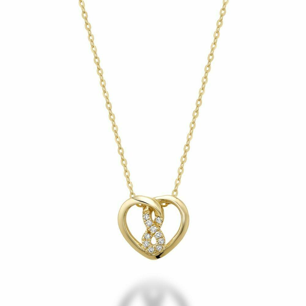 Diamond Intertwined Infinity Center Hearts 10KT Yellow Gold