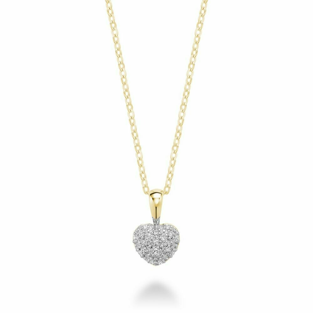 Diamond Encrusted Heart 10KT Yellow Gold