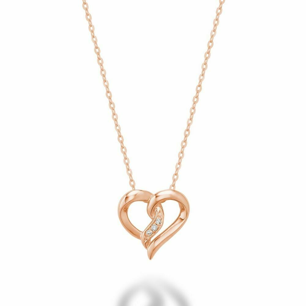 Diamond Intertwined Hearts 10KT Rose Gold