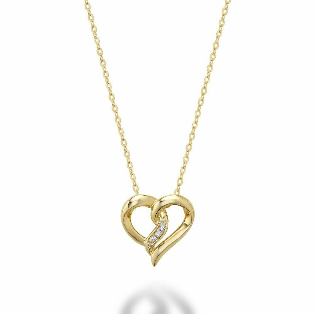 Diamond Intertwined Hearts 10KT Yellow Gold