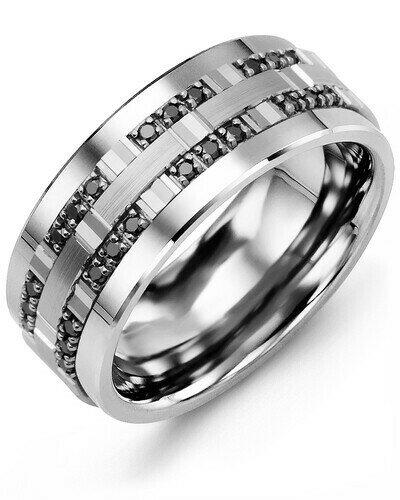 MBZ MOD - Men's Outer Trio Black Diamonds Wedding Ring
