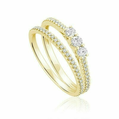 Three Stone Diamond Engagement Ring Set 10KT Yellow Gold 0.25 carat - 0.40 CT TDW