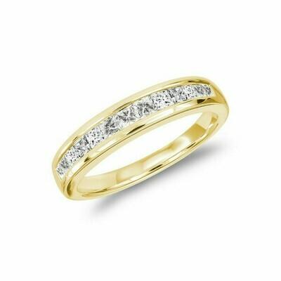 Princess Cut Diamond Semi Eternity Channel Set Band 14KT Yellow Gold 0.15 carat TDW - 0.50 CT TDW