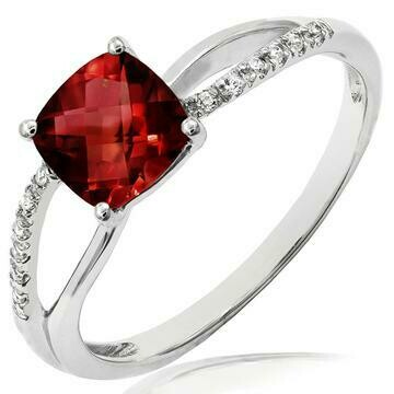 Cushion Garnet Ring with Diamond Accent and Split Shoulders 14KT Gold