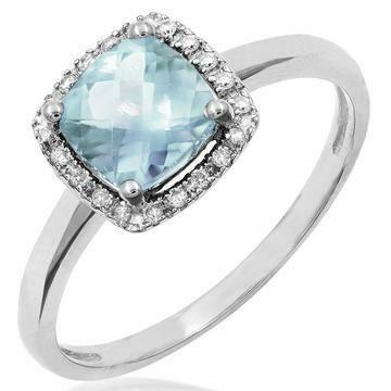 Cushion Aquamarine Ring with Diamond Halo 14KT Gold