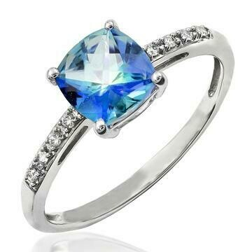 Cushion Blue Topaz Ring with Diamond Accent 14KT Gold