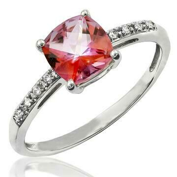 Cushion Pink Topaz Ring with Diamond Accent 14KT Gold