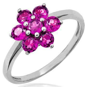 Floral Pink Topaz Cluster Ring 14KT Gold