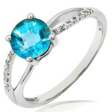 Blue Topaz Ring with Diamond Accent and Split Shoulders Gold
