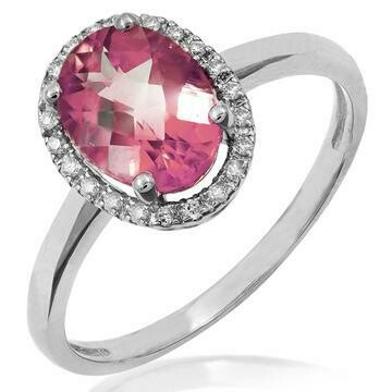 Oval Pink Topaz Ring with Diamond Halo 14KT Gold