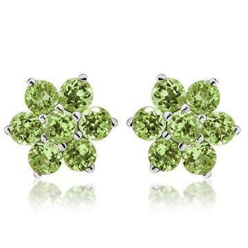 Floral Cluster Peridot Stud Earrings 14KT Gold