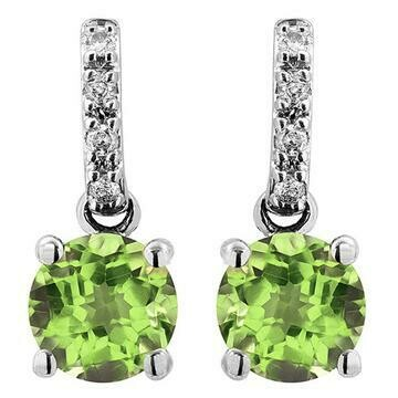 Peridot Earrings with Diamond Accent 14KT Gold