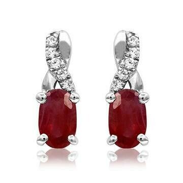 Oval Ruby Infinity Stud Earrings with Diamond Accent 14KT Gold