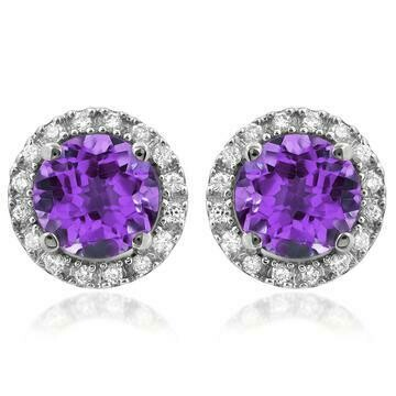 Amethyst Stud Earrings with Diamond Halo 14KT Gold