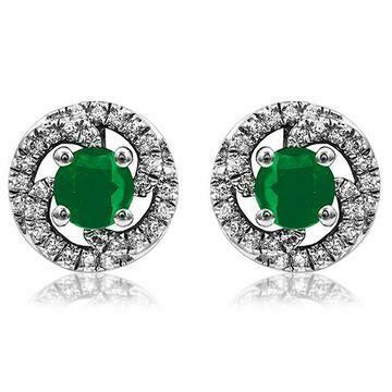 Emerald Swirl Stud Earrings with Diamond Frame 14KT Gold