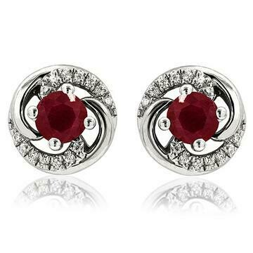 Ruby Swirl Stud Earrings with Diamond Accent 14KT Gold
