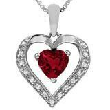 Heart Garnet Pendant with Diamond Accent 14KT Gold