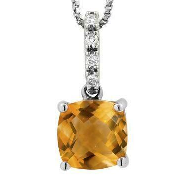 Cushion Citrine Pendant with Diamond Bail 14KT Gold