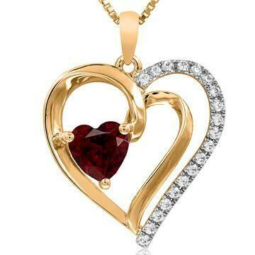 Heart Garnet Pendant with Diamond Accent 14KT Yellow Gold