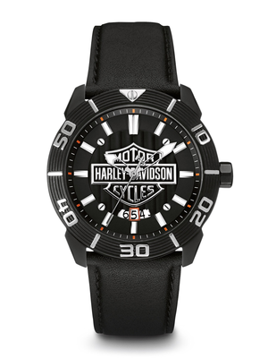 Harley-Davidson Black Dial 44MM Quartz 78B136