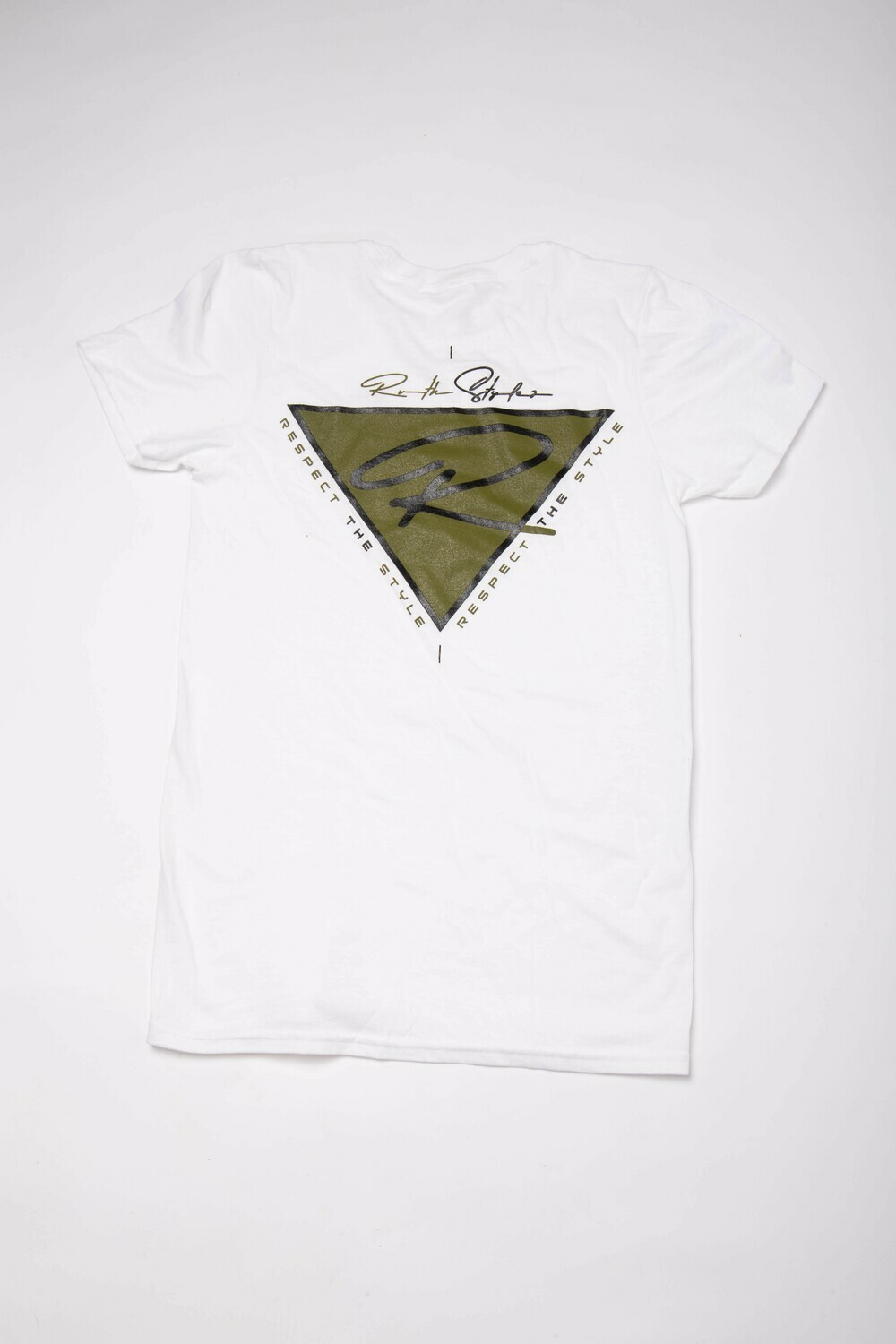 """Olive and Black """"Respect the Style"""" Back Logo Crew Neck Tee!"""