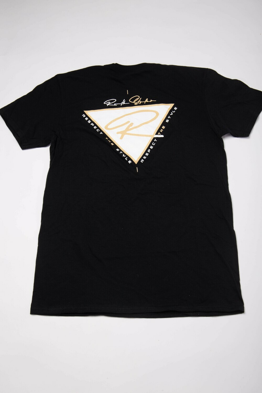 "White and Tan V-Neck ""Respect the Style"" Back Logo T-Shirt!"
