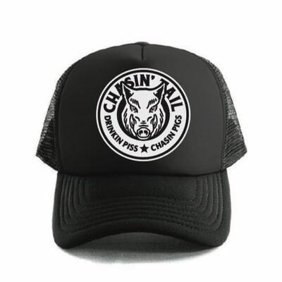 DRINKIN PISS CHASIN PIGS - TRUCKER HAT Black