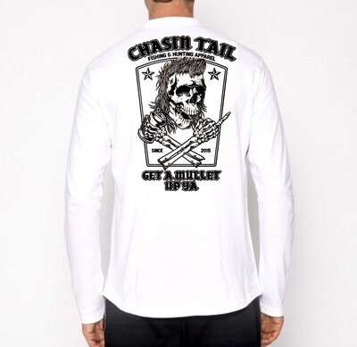 GET A MULLET UP YA - White long sleeve T-shirt