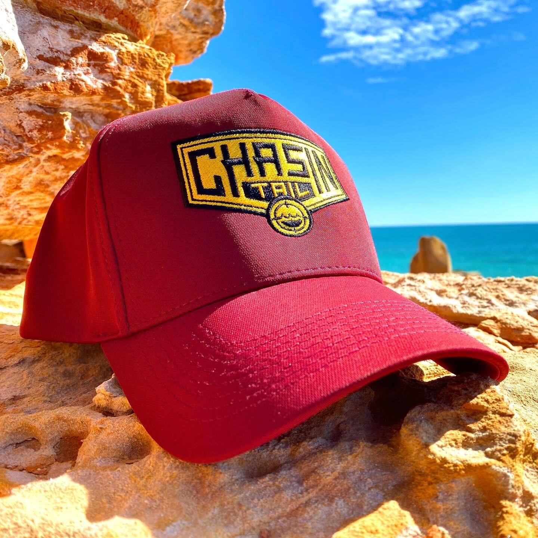 CHASIN TAIL D-LUX 5 Panel Trucker Hat.  Maroon