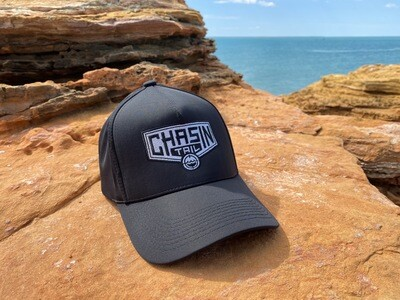 CHASIN TAIL D-LUX 5 Panel Tracker Hat. Black